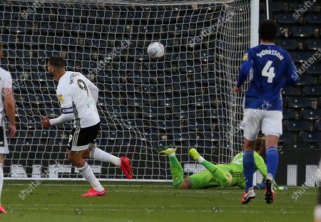 Aleksandar Mitrovic of Fulham scores a goal.