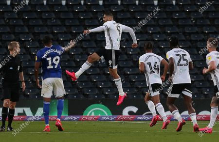 Aleksandar Mitrovic of Fulham celebrates scoring a goal.