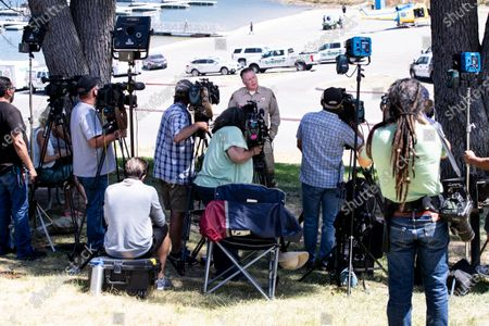 Ventura Sheriff Department Captain Eric Buschow (C) holds a press conference as searches continue for missing US actress Naya Rivera after her disappearance while boating with her young son in Los Padres National Forest, California, USA, 10 July 2020. Rivera starred in the 'Glee' television show, and went missing after renting a boat and going out on the lake with her four-year-old son on 08 July.