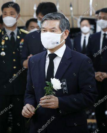 Stock Photo of South Korean Defense Minister Jeong Kyeong-doo visits the funeral home for Korean war hero Paik Sun-yup at Seoul's Asan Medical Center, South Korea, 11 July 2020. Paik, a famous Korean War hero and South Korea's first four-star general, died the previous day at the age of 99.