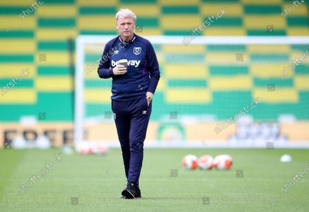 West Ham manager David Moyes before the English Premier League match between Norwich City and West Ham United in Norwich, Britain, 11 July 2020.