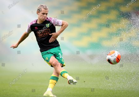 Todd Cantwell of Norwich during the warm-up before the English Premier League match between Norwich City and West Ham United in Norwich, Britain, 11 July 2020.