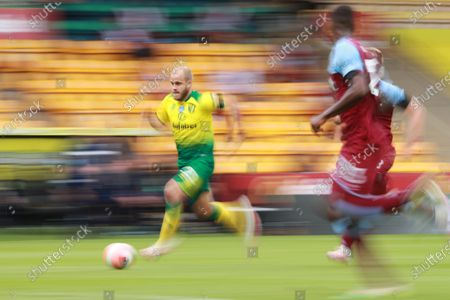 Teemu Pukki of Norwich in action during the English Premier League match between Norwich City and West Ham United in Norwich, Britain, 11 July 2020.
