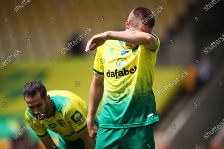 A dejected Marco Stiepermann of Norwich after West Ham scored the opening goal during the English Premier League match between Norwich City and West Ham United in Norwich, Britain, 11 July 2020.