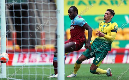 Michail Antonio (L) of West Ham scores his third goal during the English Premier League match between Norwich City and West Ham United in Norwich, Britain, 11 July 2020.