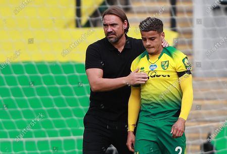 Norwich manager Daniel Farke (L) consoles Josh Martin after the English Premier League match between Norwich City and West Ham United in Norwich, Britain, 11 July 2020. Norwich lost 0-4 and has been relegated.