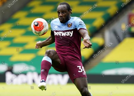 Michail Antonio of West Ham during the English Premier League match between Norwich City and West Ham United in Norwich, Britain, 11 July 2020.