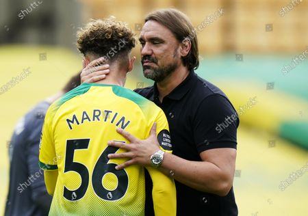 Norwich manager Daniel Farke (R) consoles Josh Martin after the English Premier League match between Norwich City and West Ham United in Norwich, Britain, 11 July 2020. Norwich lost 0-4 and has been relegated.