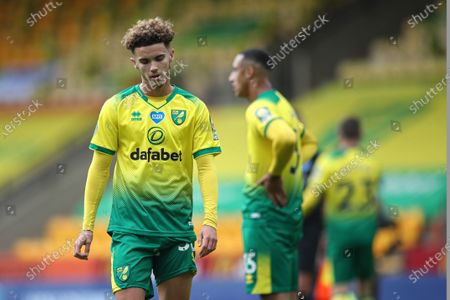 Photo libre de droits de Norwich City's Josh Martin is dejected at the end of the English Premier League soccer match between Norwich City and West Ham at the Carrow Road stadium in Norwich, England