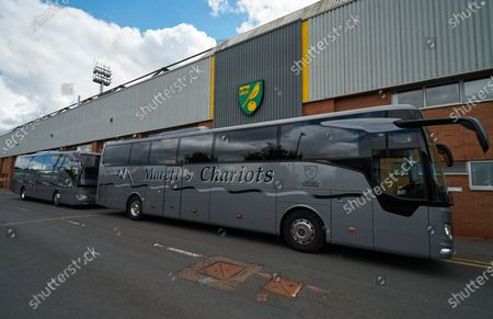 The Norwich City team bus parked in front of Carrow Road. Norwich City play West Ham United in a Project Restart match behind closed doors.