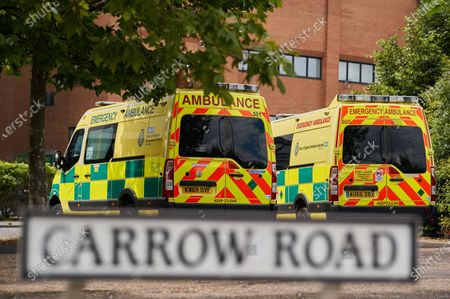 Ambulance / Emergency Service vehicles parked outside of Carrow Road. Norwich City play West Ham United in a Project Restart match behind closed doors.