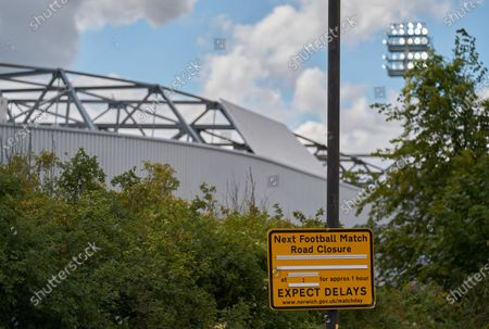 A general view of Carrow Road and the blank traffic warning sign. Norwich City play West Ham United in a Project Restart match behind closed doors.