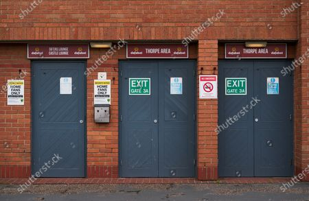 With no fans in sttendance, entry doors are shut before the match. Norwich City play West Ham United in a Project Restart match behind closed doors.