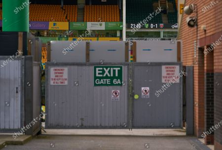 Empty stands inside of Carrow Road as they are being beaten by West Ham United. Norwich City play West Ham United in a Project Restart match behind closed doors.