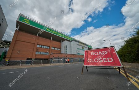 Access to Carrow Road is blocked off the road traffic ahead of the match. Norwich City play West Ham United in a Project Restart match behind closed doors.