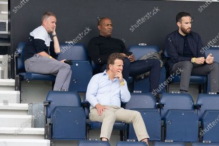 Queens Park Rangers Chief Executive Officer Lee Hoos (front row), Queens Park Rangers Director of Football Les Ferdinand (top row, middle), during the EFL Sky Bet Championship match between Queens Park Rangers and Sheffield Wednesday at the Kiyan Prince Foundation Stadium, London