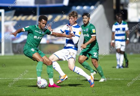 Jacob Murphy of Sheffield Wednesday holds off Jack Clarke of Queens Park Rangers