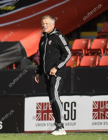 Sheffield's manager manager Chris Wilder during the English Premier League match between Sheffield United and Chelsea in Sheffield, Britain, 11 July 2020.