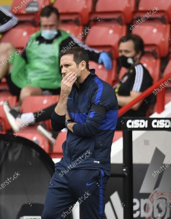 Chelsea's manager Frank Lampard reacts during the English Premier League match between Sheffield United and Chelsea in Sheffield, Britain, 11 July 2020.