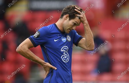 Marcos Alonso of Chelsea reacts during the English Premier League match between Sheffield United and Chelsea in Sheffield, Britain, 11 July 2020.