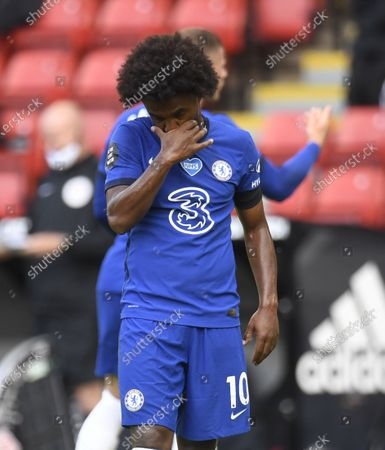 Willian of Chelsea reacts during the English Premier League match between Sheffield United and Chelsea in Sheffield, Britain, 11 July 2020.