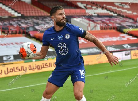 Olivier Giroud of Chelsea in action during the English Premier League match between Sheffield United and Chelsea in Sheffield, Britain, 11 July 2020.
