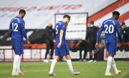 Jorginho of Chelsea (C) reacts at the end of the English Premier League match between Sheffield United and Chelsea in Sheffield, Britain, 11 July 2020.