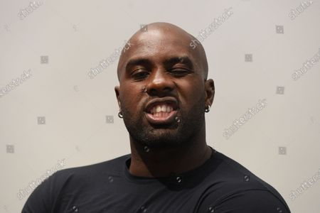 "Teddy Riner during a press conference after the screening of the film ""TEDDY""."