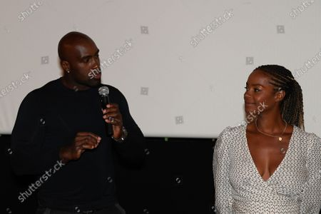 "Stock Image of Teddy Riner and Luthna Plocus (Teddy's wife) after the screening of the film ""TEDDY""."