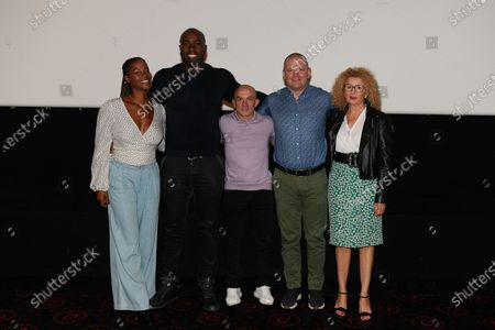 "Stock Photo of Luthna Plocus (Teddy's wife), Teddy Riner, Franck Chambily (Teddy's coach), Nico Kanning (Teddy's sparring partener) and Meriem Salmy (Teddy's psychologist) after the screening of the film ""TEDDY""."
