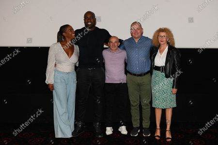"Luthna Plocus (Teddy's wife), Teddy Riner, Franck Chambily (Teddy's coach), Nico Kanning (Teddy's sparring partener) and Meriem Salmy (Teddy's psychologist) after the screening of the film ""TEDDY""."