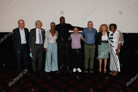 "Denis Masseglia (president of french national olympic committee), Jean Luc Rouge (president of french judo federation), Luthna Plocus (Teddy's wife), Teddy Riner, Franck Chambily (Teddy's coach), Nico Kanning (Teddy's sparring partener), Meriem Salmy (Teddy's psychologist) and Marie Pierre Riner (Teddy'mother) after the screening of the film ""TEDDY""."