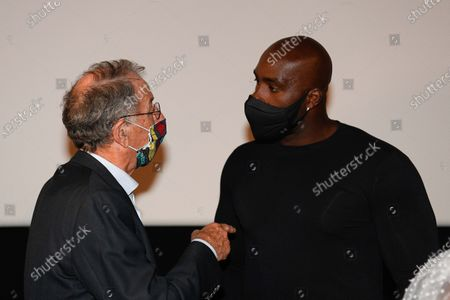 "Denis Masseglia (president of french national olympic committee), Teddy Riner after the screening of the film ""TEDDY""."