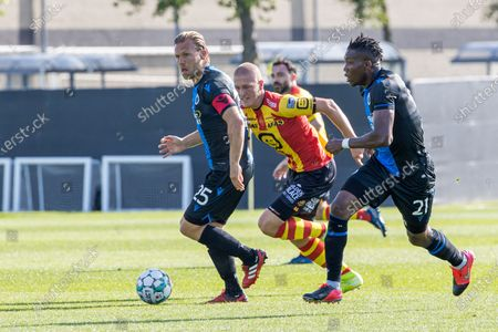 Stock Picture of Club's Ruud Vormer and Mechelen's Bas Van den Eynden fight for the ball during a friendly soccer game between Club Brugge KV and KV Mechelen, Saturday 11 July 2020 in Westkapelle, in preparation of the upcoming 2020-2021 Jupiler Pro League season.