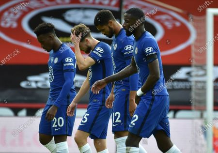 Jorginho of Chelsea (2-L) reacts at the end of the English Premier League match between Sheffield United and Chelsea in Sheffield, Britain, 11 July 2020.