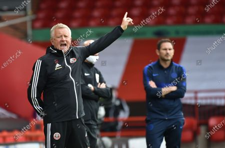 Sheffield's manager manager Chris Wilder reacts during the English Premier League match between Sheffield United and Chelsea in Sheffield, Britain, 11 July 2020.