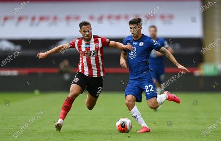 George Baldock of Sheffield (L) in action against Christian Pulisic of Chelsea (R) during the English Premier League match between Sheffield United and Chelsea in Sheffield, Britain, 11 July 2020.