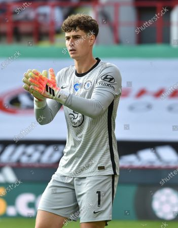 Kepa Arrizabalaga of Chelsea reacts during the English Premier League match between Sheffield United and Chelsea in Sheffield, Britain, 11 July 2020.