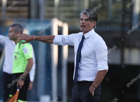 Brescia's head coach Diego Lopez gestures during the Italian Serie A soccer match Brescia Calcio vs AS Roma at the Mario Rigamonti stadium in Brescia, Italy, 11 July 2020.