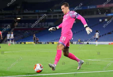 Manchester City goalkeeper Ederson in action during the English Premier League match between Brighton & Hove Albion and Manchester City in Brighton, Britain, 11 July 2020.