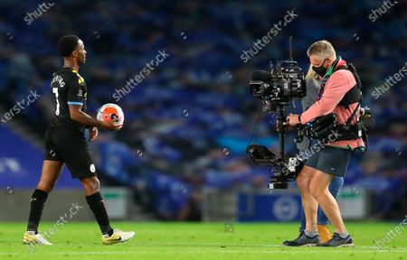 Manchester City's Raheem Sterling carries the ball after the English Premier League match between Brighton & Hove Albion and Manchester City in Brighton, Britain, 11 July 2020.