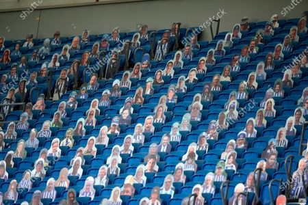 Cardboard cutouts showing Brighton & Hove Albion supporters before the English Premier League match between Brighton & Hove Albion and Manchester City in Brighton, Britain, 11 July 2020.