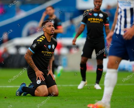 Manchester City's Gabriel Jesus reacts during the English Premier League match between Brighton & Hove Albion and Manchester City in Brighton, Britain, 11 July 2020.