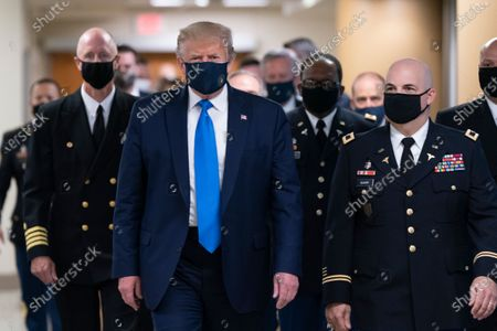 US President Donald Trump visits wounded military members and frontline healthcare workers, Bethesda