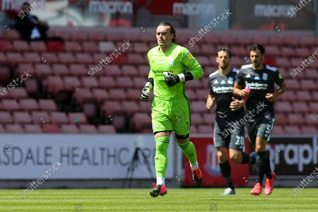 Lee Camp of Birmingham City (1) during the EFL Sky Bet Championship match between Stoke City and Birmingham City at the Bet365 Stadium, Stoke-on-Trent