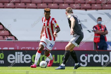 Tyrese Campbell of Stoke City (26) during the EFL Sky Bet Championship match between Stoke City and Birmingham City at the Bet365 Stadium, Stoke-on-Trent