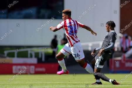 Tyrese Campbell of Stoke City (26) skips away from a defender during the EFL Sky Bet Championship match between Stoke City and Birmingham City at the Bet365 Stadium, Stoke-on-Trent