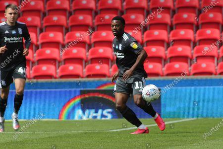 Jérémie Bela of Birmingham City (11) during the EFL Sky Bet Championship match between Stoke City and Birmingham City at the Bet365 Stadium, Stoke-on-Trent