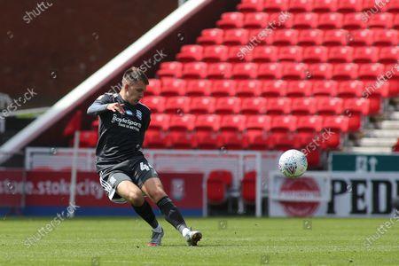 Caolan Boyd-Munce of Birmingham City (44) clears the ball  during the EFL Sky Bet Championship match between Stoke City and Birmingham City at the Bet365 Stadium, Stoke-on-Trent