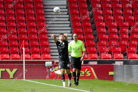 Ryan Burke of Birmingham City (45) launches a long throw during the EFL Sky Bet Championship match between Stoke City and Birmingham City at the Bet365 Stadium, Stoke-on-Trent